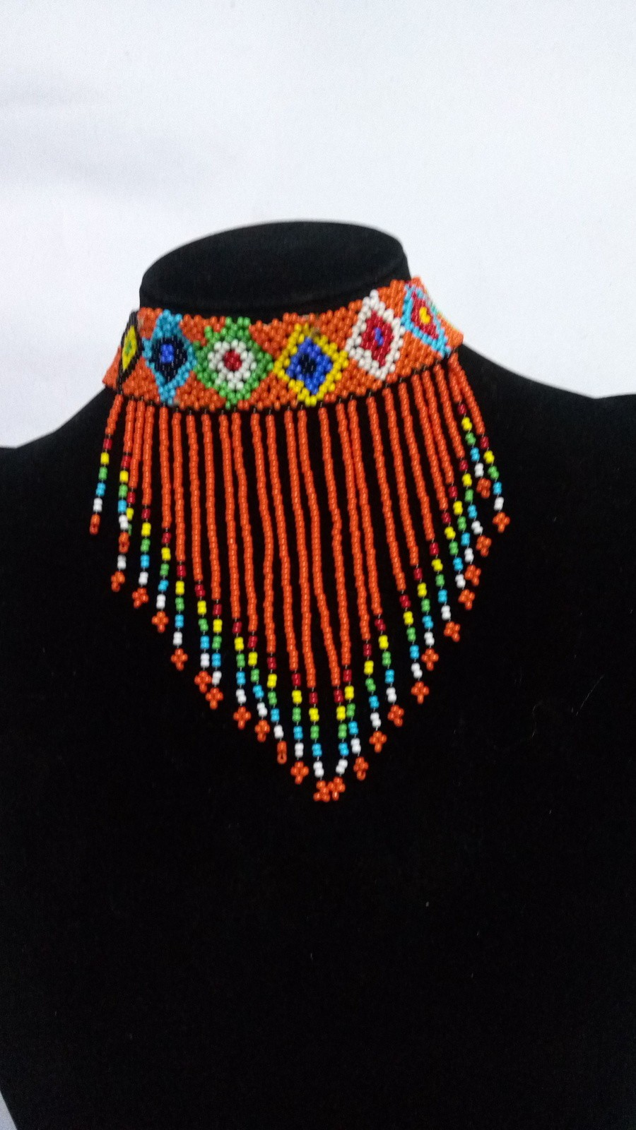 Seed Bead Necklace African-like Necklace. Nut and Bead Necklace