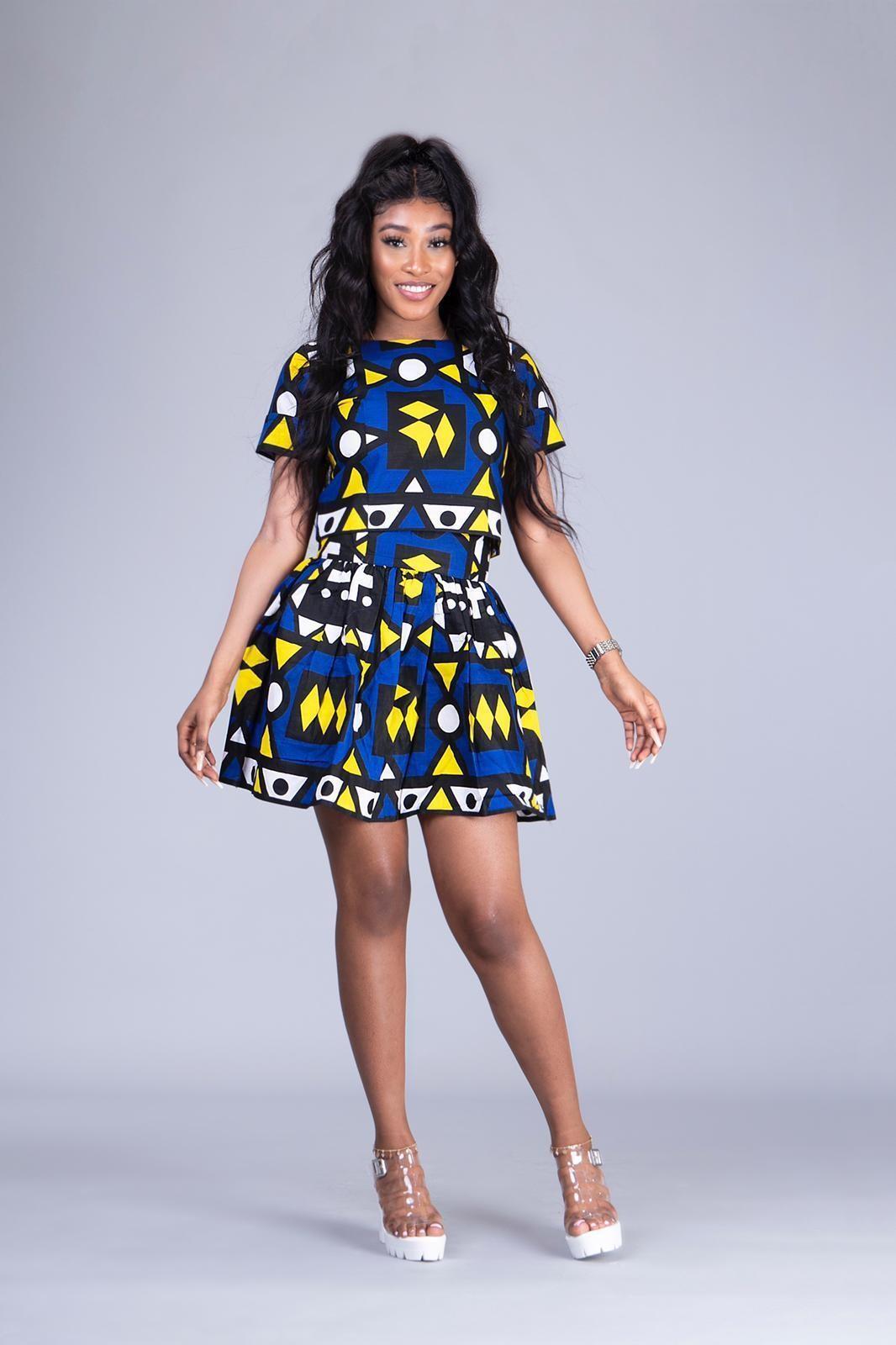 Uzoamaka ankara 2 piece top and mini skirt
