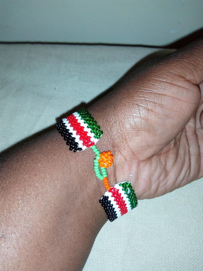 Kenyan Beaded Wire Cuff Bracelet
