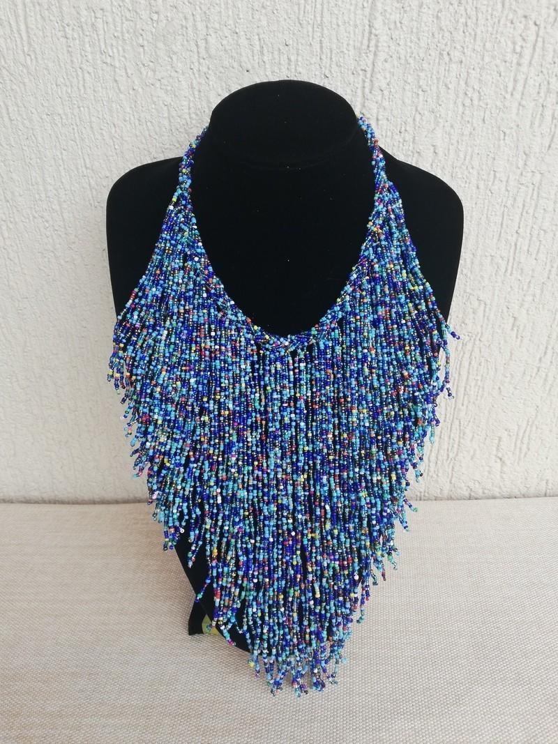 black metallic necklace fabric necklace boho necklace fringe necklace textile jewelry collar necklace tribal necklace bride jewelry