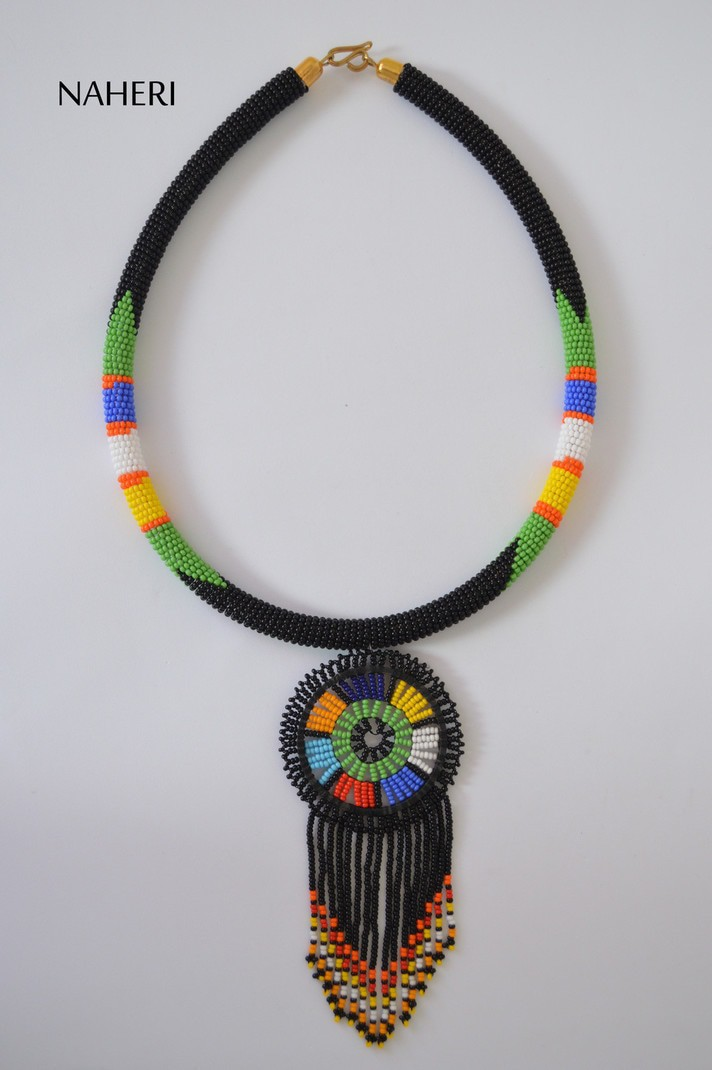 African Maasai Handmade Leather Beaded Necklace Multi Color Necklace for African Woman On Sale Metal Necklace Fits All Leather Necklace