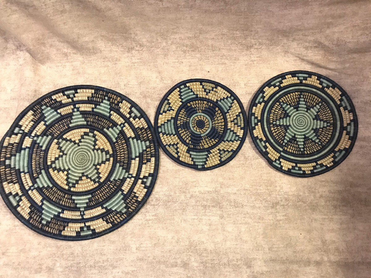 A Set Of 3 Turquoise Blue African Wall Basket A Set Of 3 Wall Hangi Afrikrea