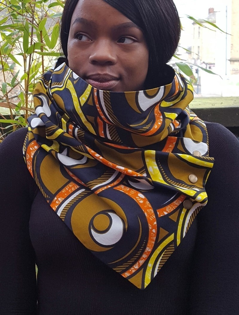 Zuri Ladies African Ankara Neck Wrap Style Neckwear Scarf With Brass Afrikrea