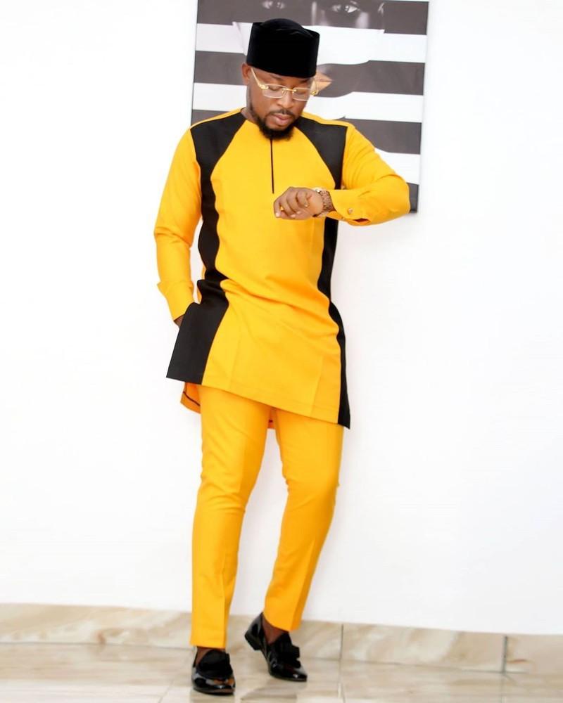 African suit African groom men African men clothing African men wedding African Dashiki Yellow senator suit Yellow African man suit