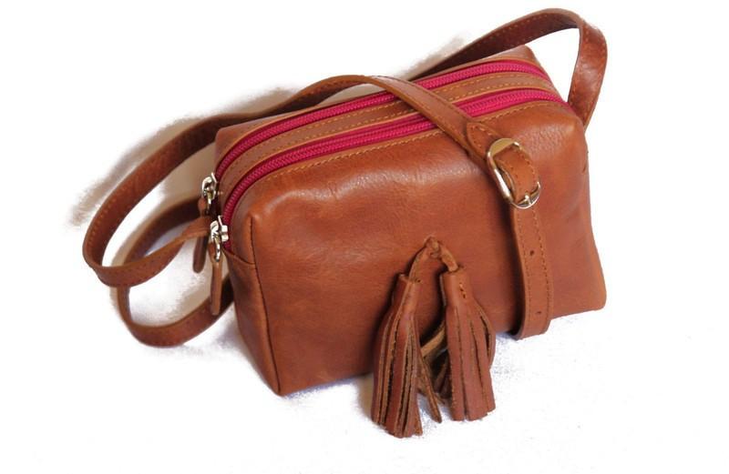 sac bandoulière cuir véritable végétable -petit sac cuir marron - Sacs à  bandoulière marron, cuir