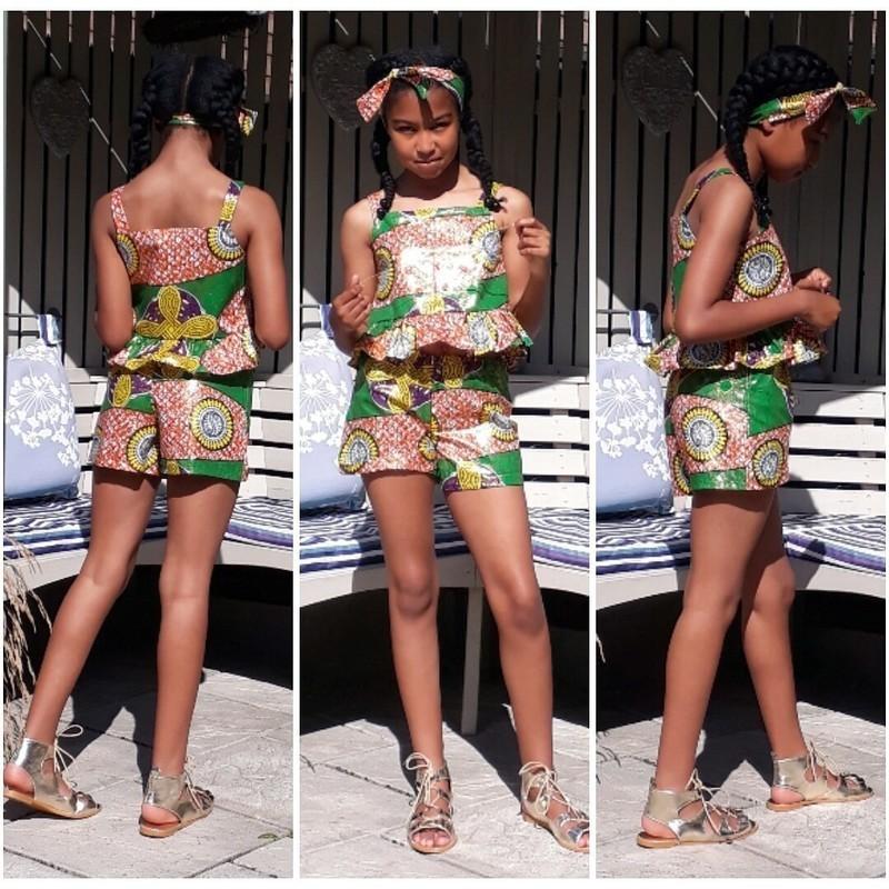 Girls Wax Ankara Summer 2 piece Shorts Set Girls Short Set Girls Summer -  Afrikrea