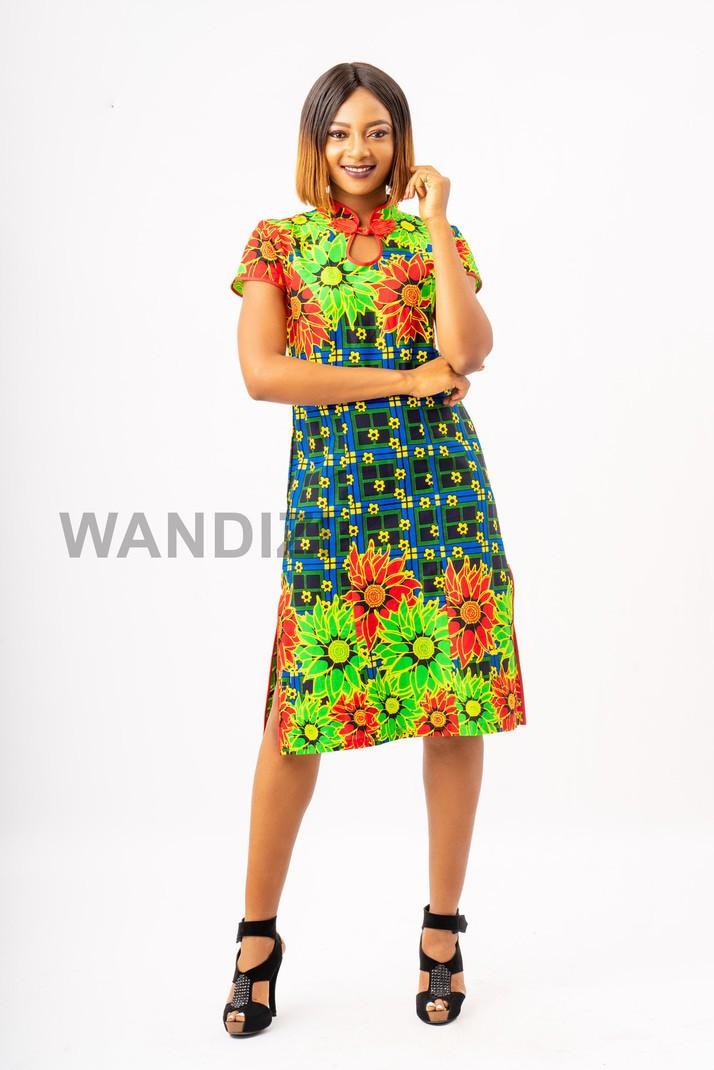 Short Dashiki Dress Short Angelina Dress Ladies/' Short Ankara Dress Mandarin Collar Dress \u2013 Made to Order Gold A-Line Dashiki Tunic