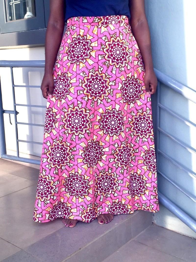 Jupe longue en tissu africain Ankara jupe longue Jupe longue en cire africaine Jupe imprimée africaine Jupes longues jupes droites, rose, grande