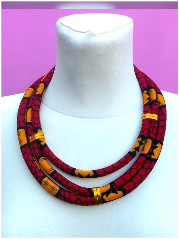 Shreded ankara statement necklace