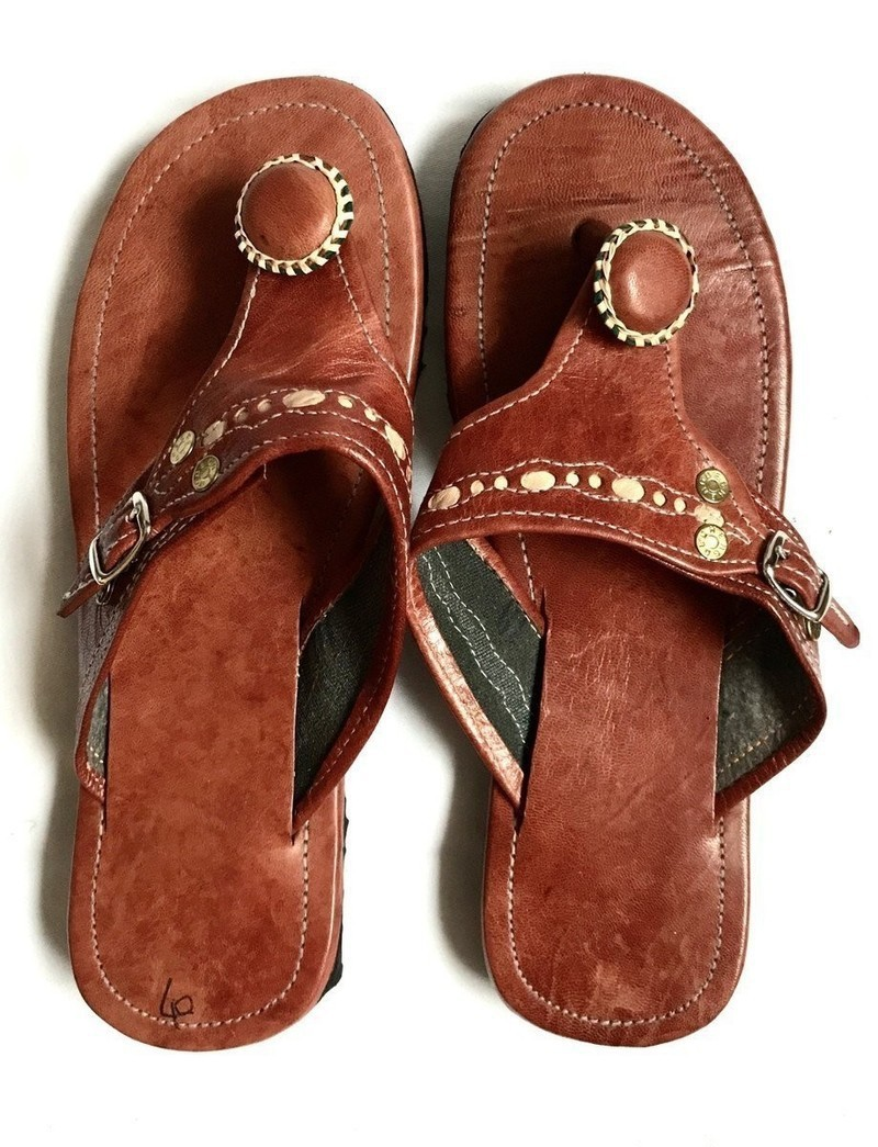 Crew Anguila Gold Metallic Leather Sandals Slides Flip Flops Thongs Shoes 7 J