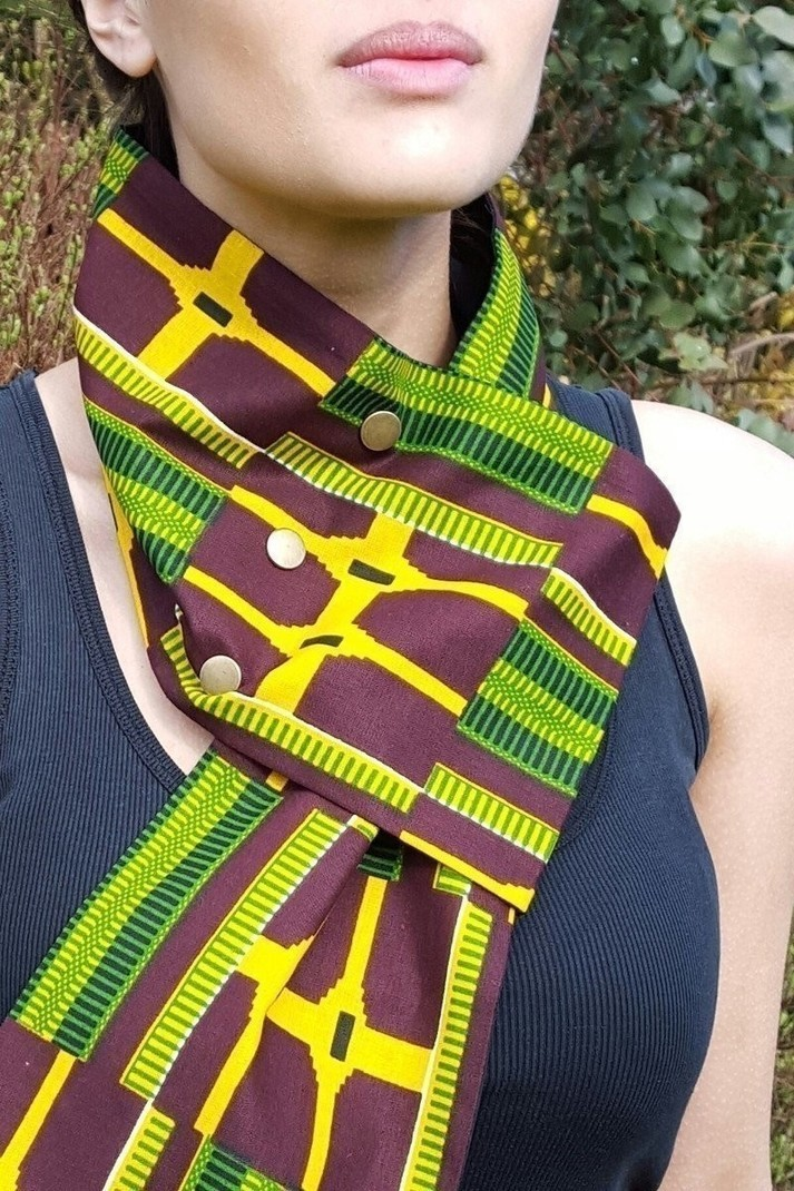 Kiama Unisex African Kente Print Cross Over Neckwear Scarf With Brass Afrikrea