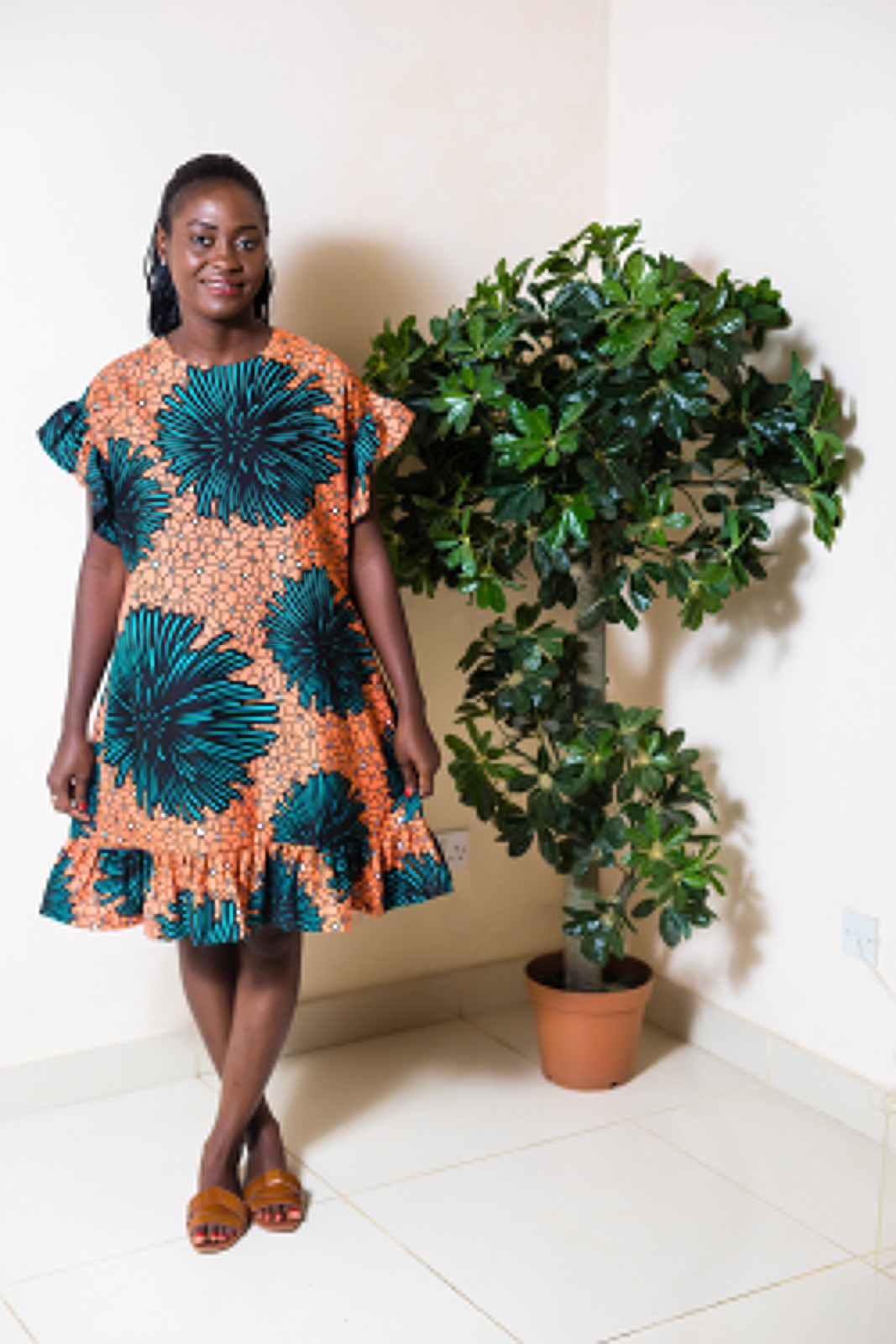 Robe droite en tissu africain Robe Ankara