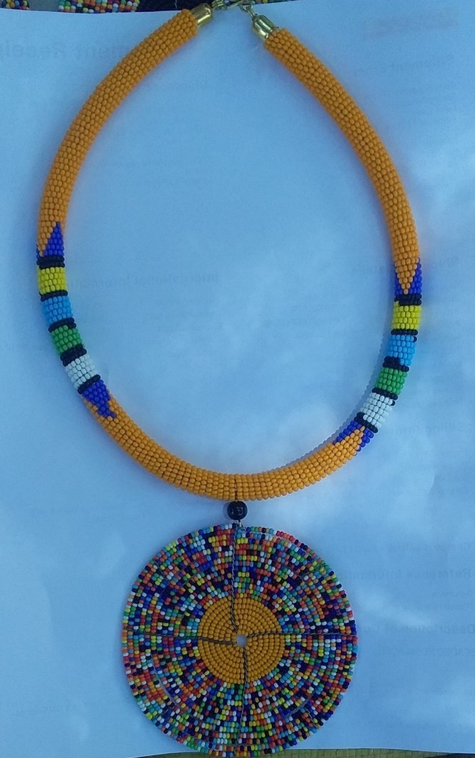 Beaded pendant necklace African beaded necklace for women Maasai necklace White African necklace Kenyan jewelry