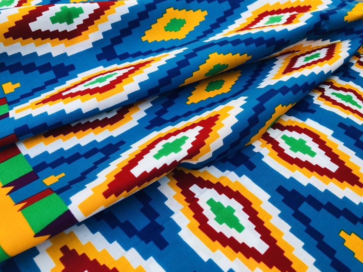 African Wax Print Ankara Sud Tissu pas cher bleu et bordeaux