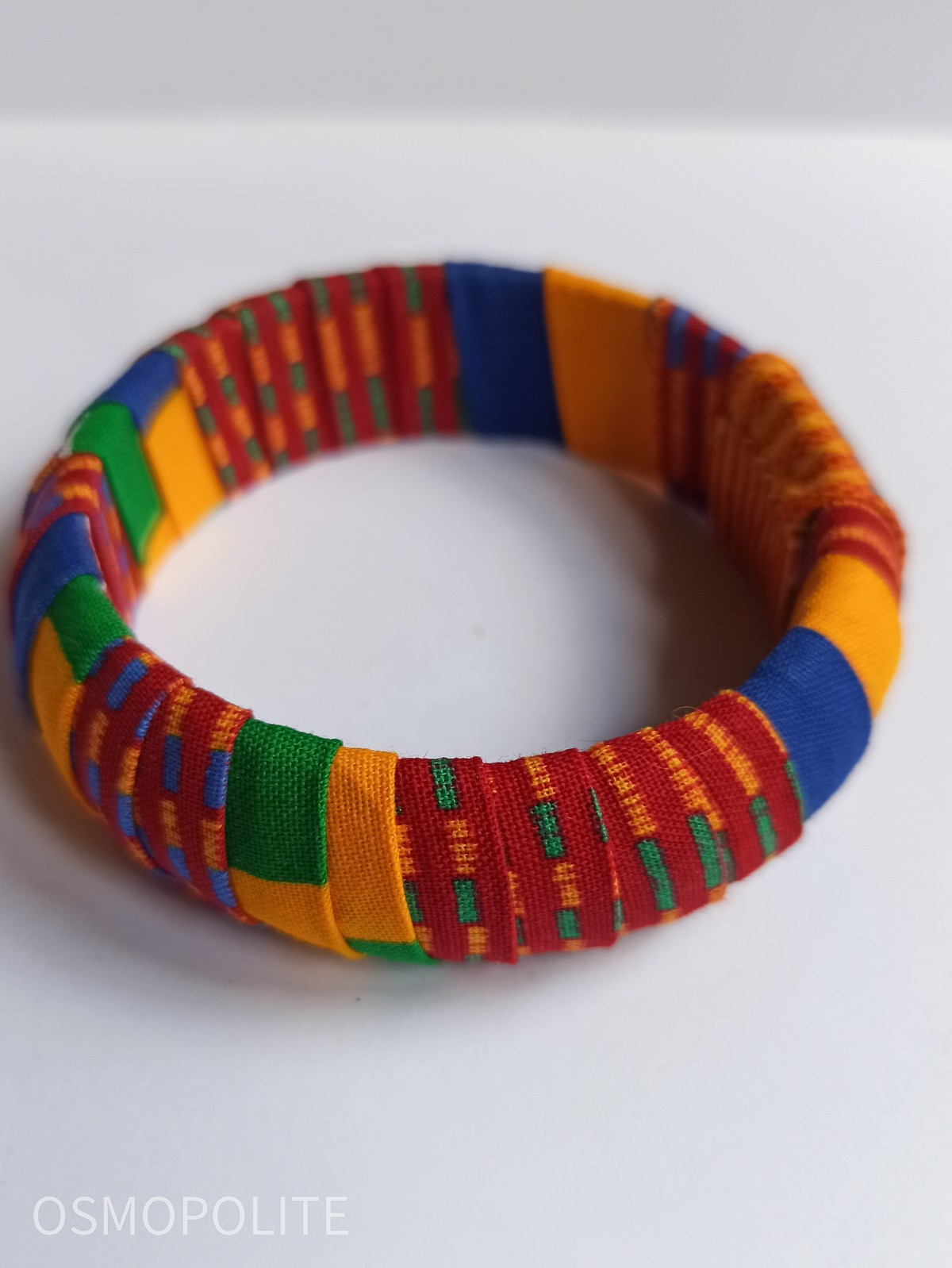 Wide Kente Fabric Bracelet By Osmopolite Cuff Bracelets Afrikrea