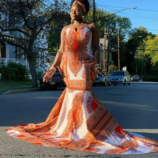 Sia African Print Mermaid Dress by