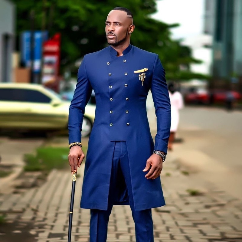 Safari Two Piece Suit In Blue Colour African Men Safari Suit By Fashion Afrikrea