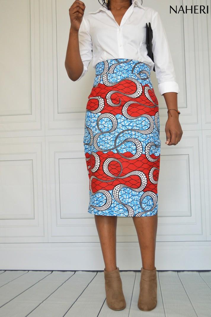 Jupe crayon imprimée africaine NINA jupe mi longue faite main Jupes Mi longues jupes crayon, multicolore, , look intégral wax, wax, pour elle,