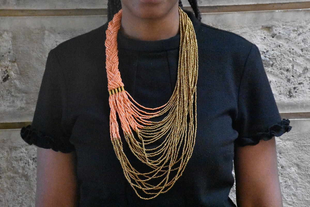 Summer jewelry Boho chic jewelry Long orange necklace For her Minimalist long necklace Fashion long necklace Long gold necklace