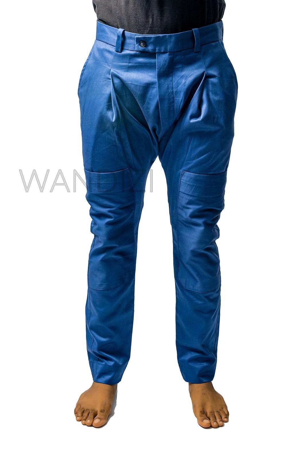 Unique Pockets Drop-Crotch Pants NO.95 Black Cotton Jersey Casual Harem Pants Women Unisex Pants