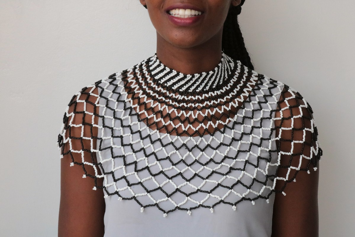 Christmas gift for her Women jewelry Zulu Beaded neckpiece Beaded Cape necklace Bridesmaid gift ON SALE African Beaded shawl necklace