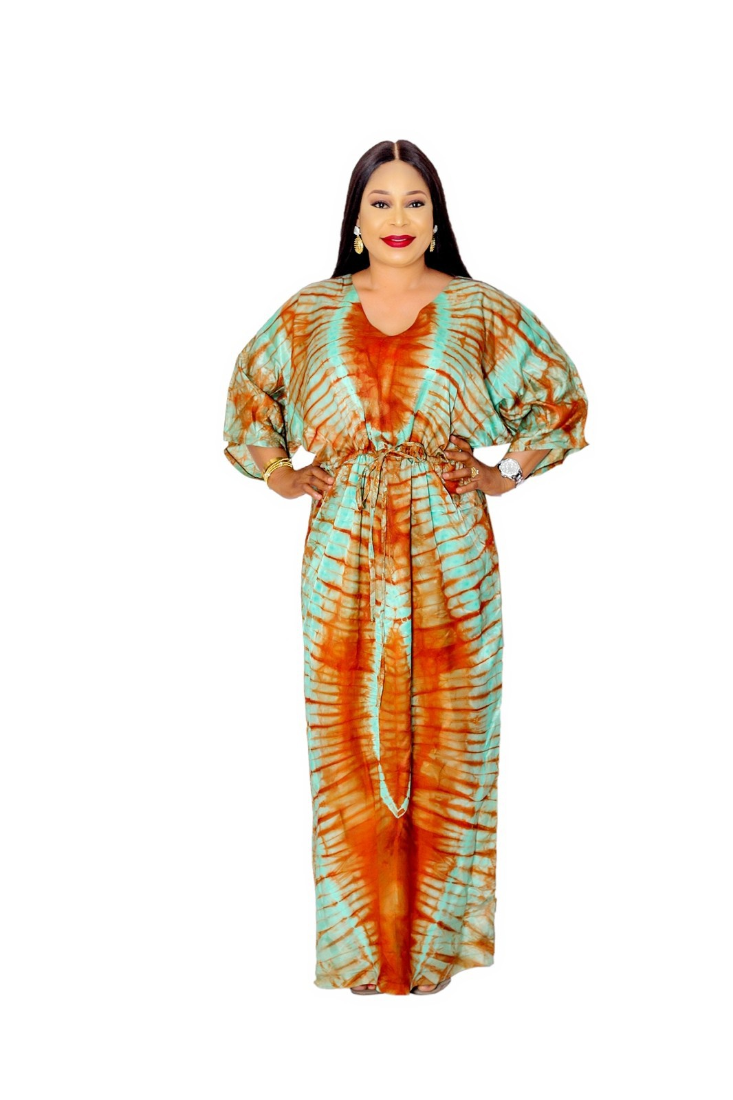 African inspired adire silk maxi dress. by 13th-june-store - Long dress -  Afrikrea