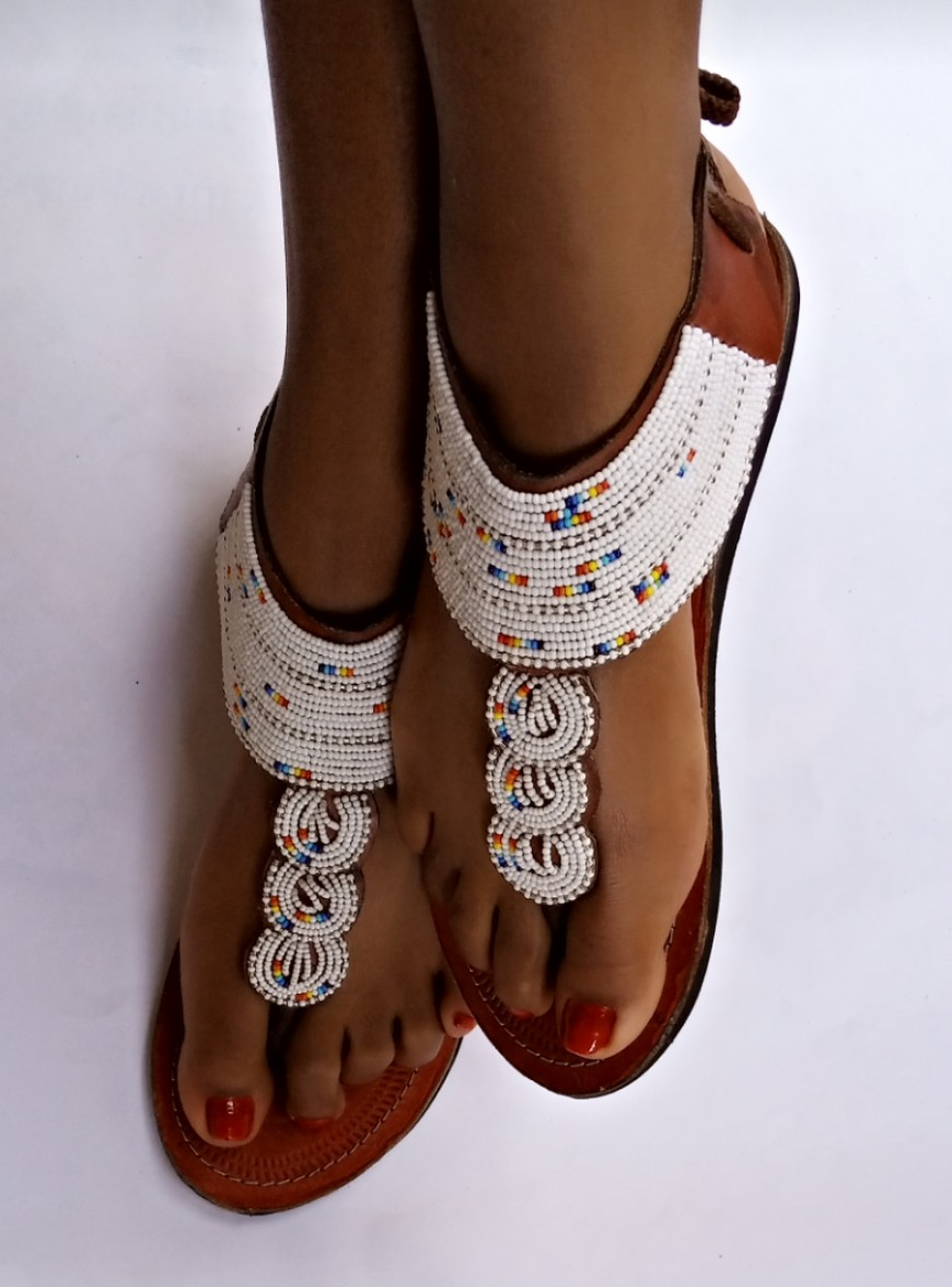 Handmade sandals Flat sandals Leather sandals Her gift Maasai beaded sandals for women African beaded Sandals for women Women fashion