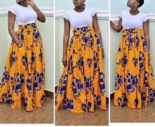 Ankara Print Long Skirt