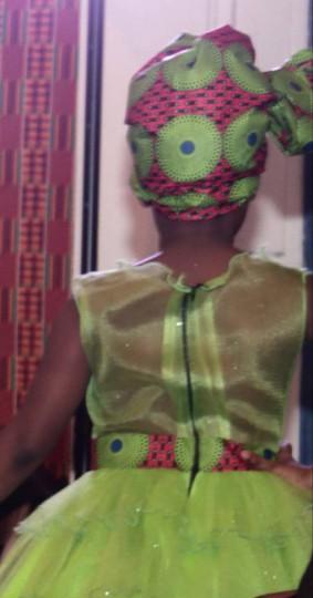 Robe vert pomme, robe fille Ankara, robe doccasion
