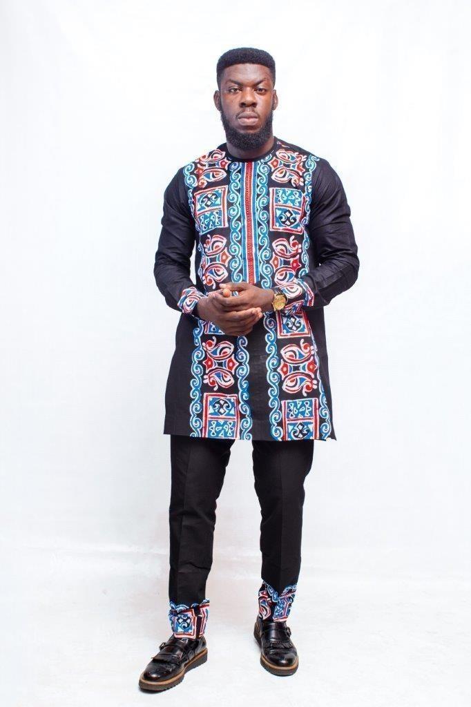 Chemise imprimée africaine et pantalon, vê