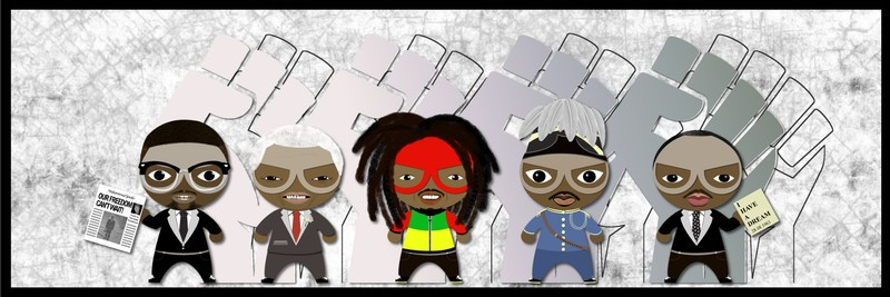Team 5 Superheroes Of The Story Canvas 60x20 Cm By Encre De Sine Afrikrea