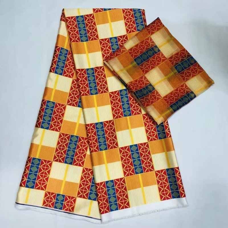 Silk Print Fabric 4 Yards 2yards Orange Stitching Color Africa