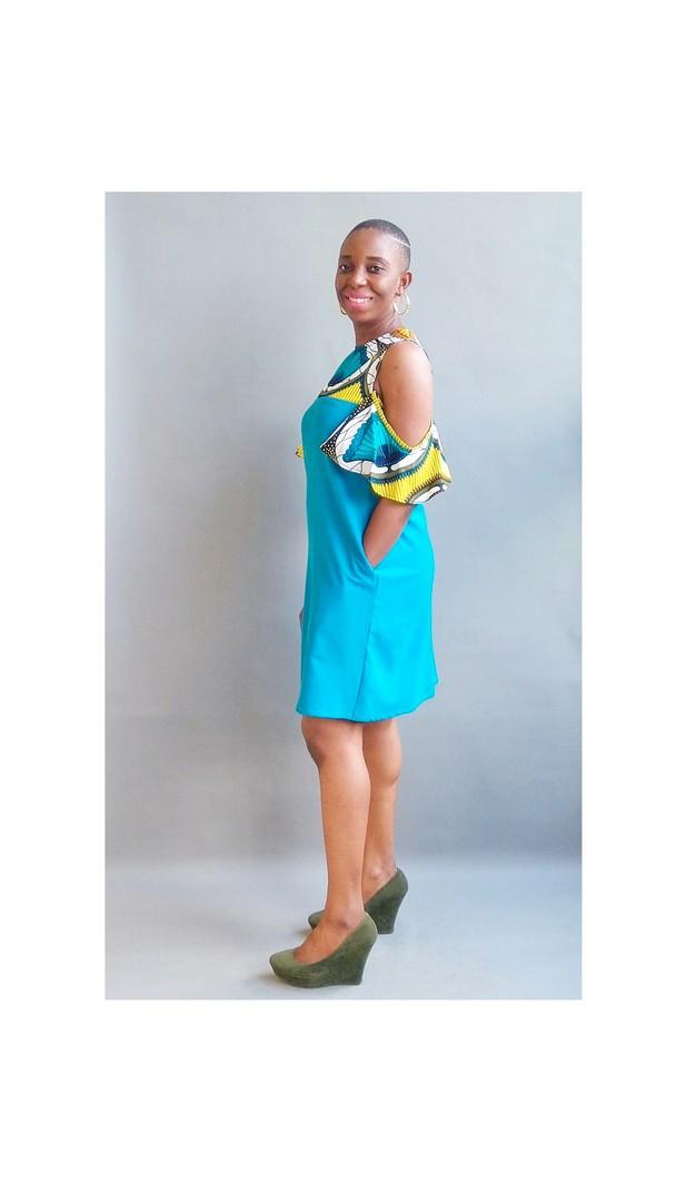 African print Midi dress with cold shoulders detailAnkaraAfrican ClothingAfrican FashionAnkara ClothingAfrican Dresses