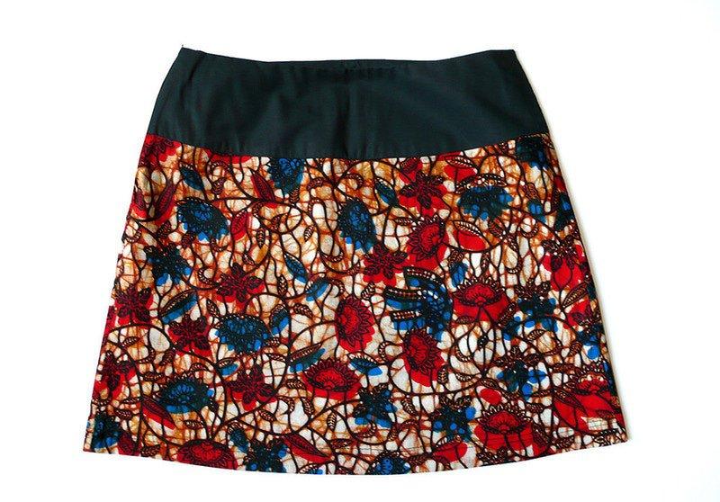 Jupe courte forme trapèze en tissu Wax motif fleuris Jupes Courtes et mini jupes , rouge, , casual, wax, pour elle, wax, les beaux jours