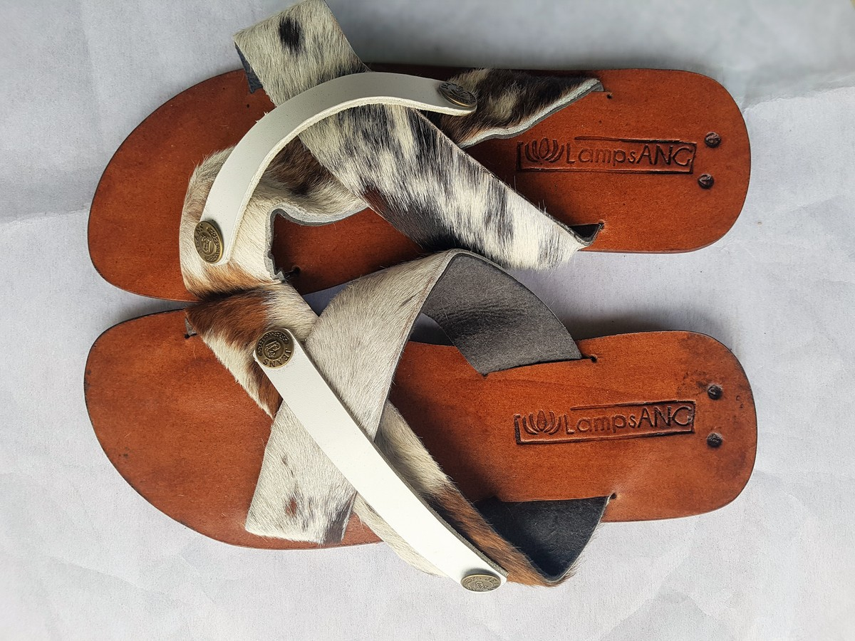 Moroccan Handmade Orange Leather Sandals Braided Leather Thong flip Flop Sandals Size EU 42 US 11 11.5