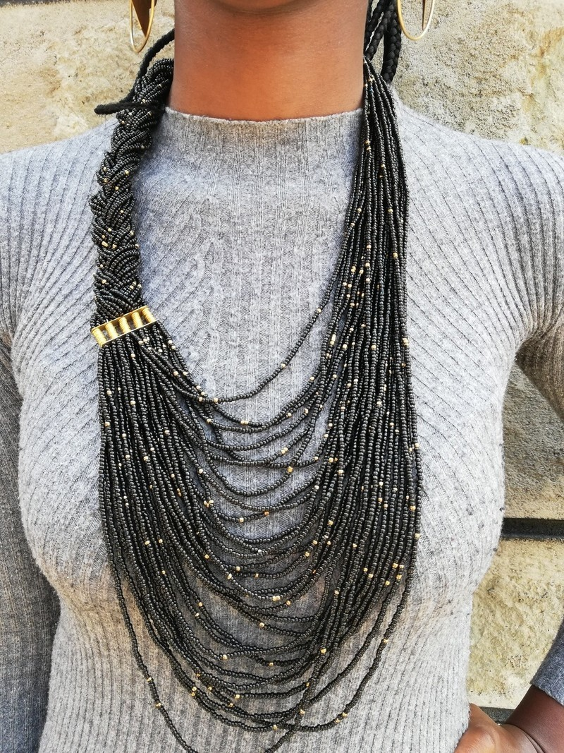 Black chunky necklace africa necklace big long necklace Black and white necklace african jewelry Black statement necklace for women