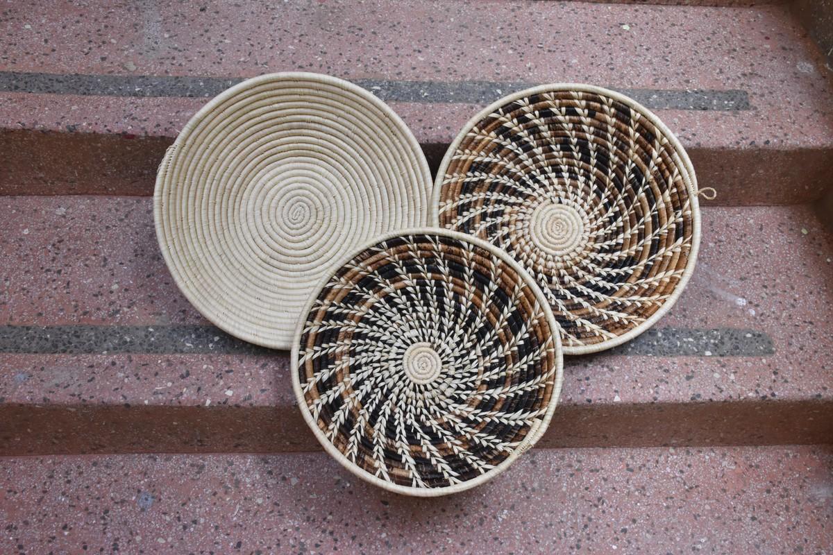 African Woven Wall Basket Set African Home Decor Basket Display Baske Afrikrea
