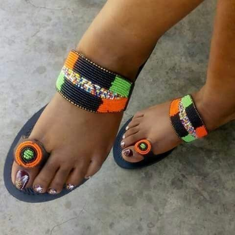 maasai sandals, beaded sand - Afrikrea
