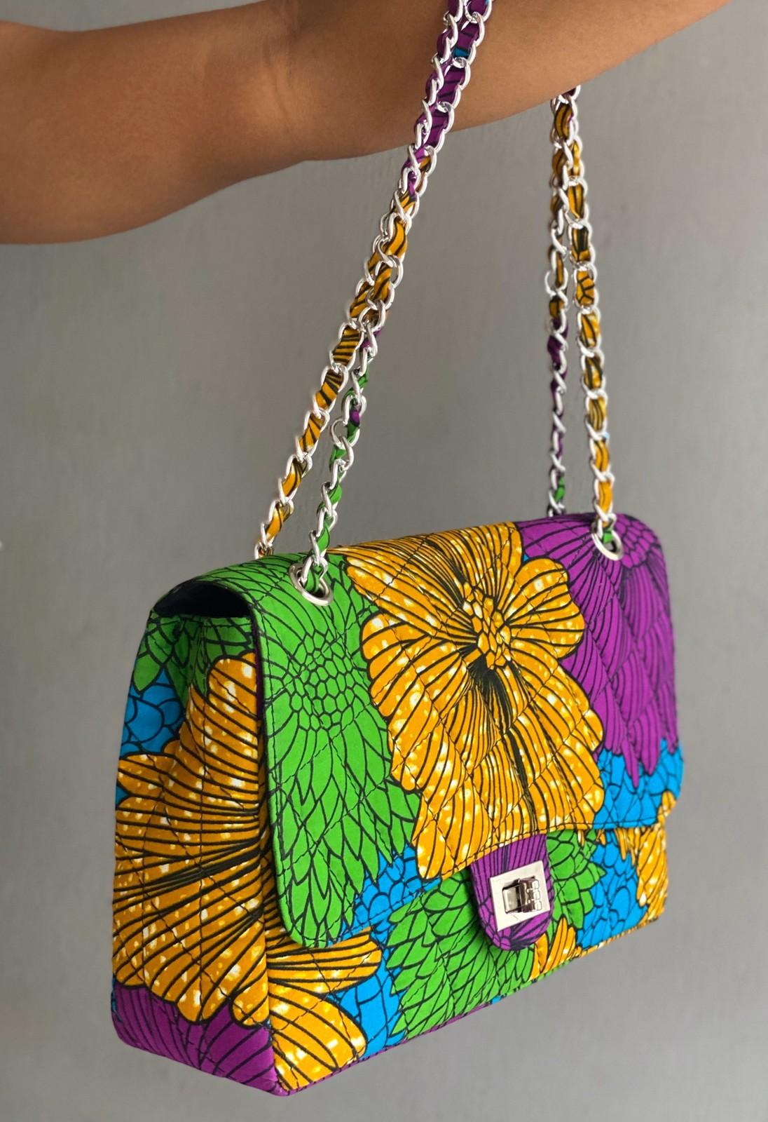 African Shoulder Bag In Vivid Green Ankara  Man Bag Made In Africa African Bag
