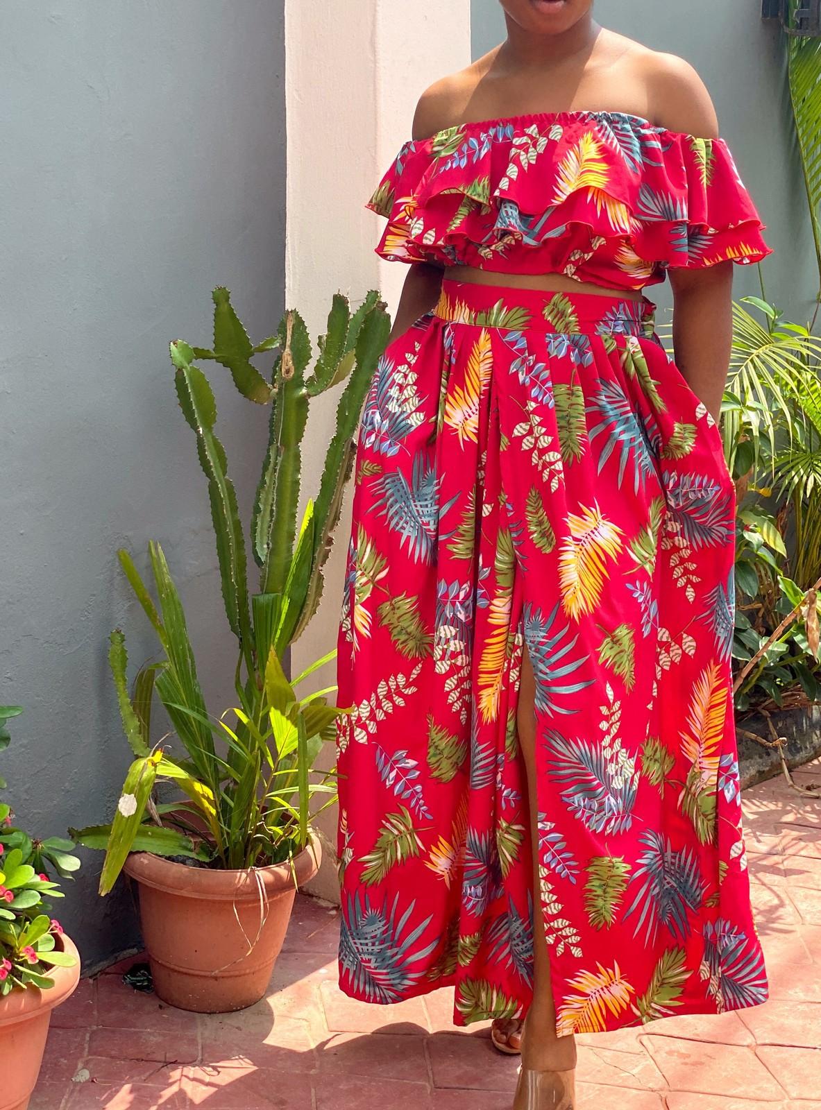 Top and skirt set, women maxi dress, high waist skirt, crop top, summer  maxi dress, boho dress