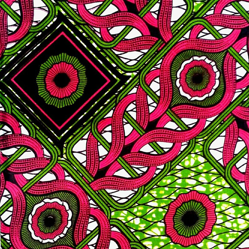 Wax Fabric African Fabric Sold At Retail Pink And Green Patterns By Afrikrea