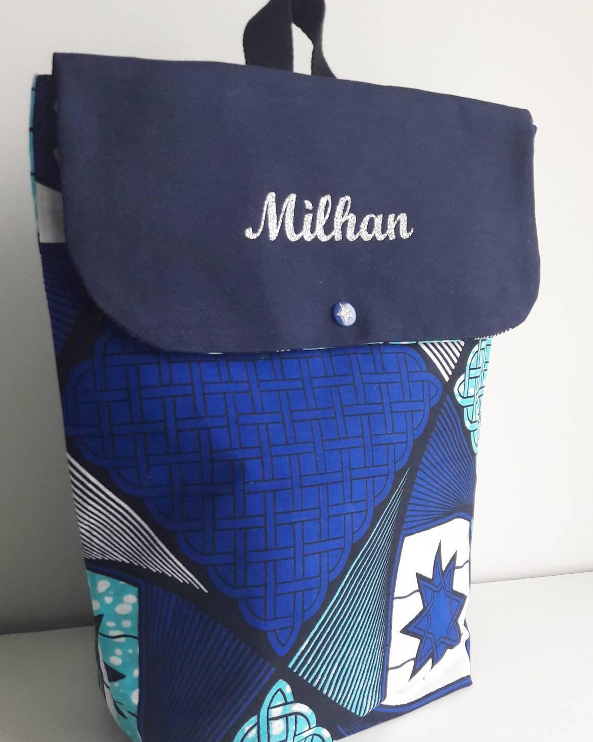 fabric baby bag satchel bag Backpack wax blue wax kids bag