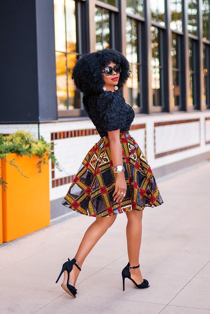 Ankara African Red Print Flare Circle Skirt Wide Elastic Waist /& Earring Sz M-XL