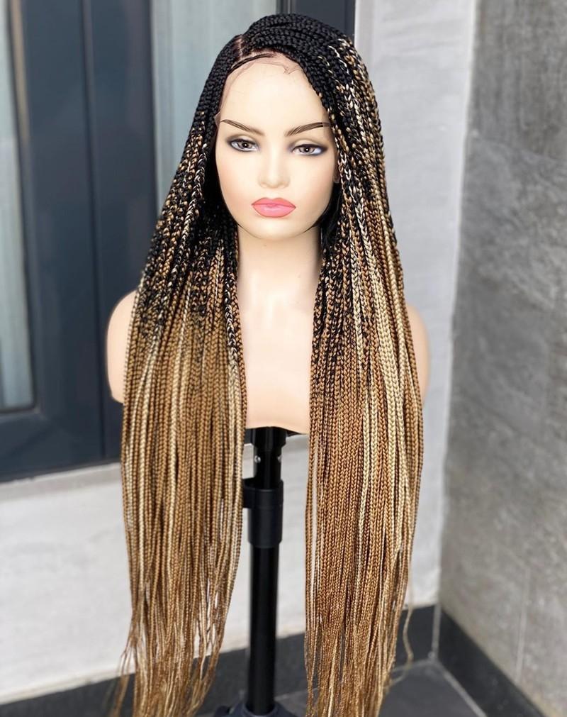 Anji Medium Knotless Braids   Wigs black, brown, gold, average, braided,  long, synthetic hair